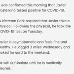 Javier Castellano Tests Positive For COVID-19